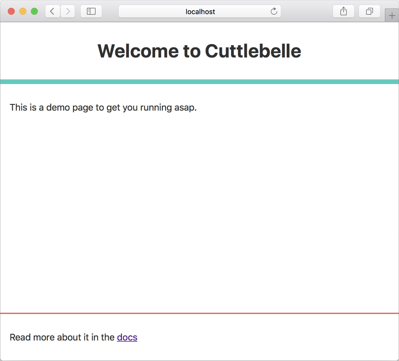 A screenshot of a browser showing an almost empty star page that welcomes you to your new Cuttlebelle site